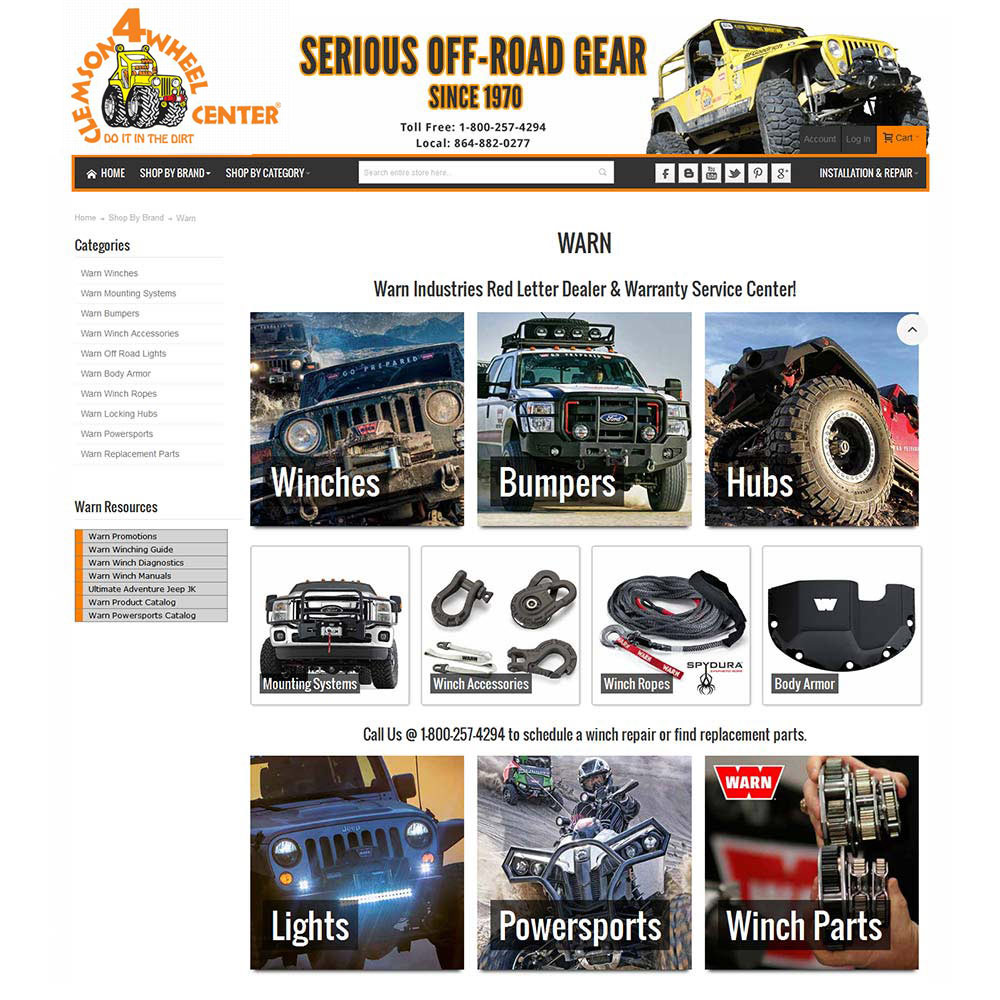 Clemson Jeep eCommerce Landing Page