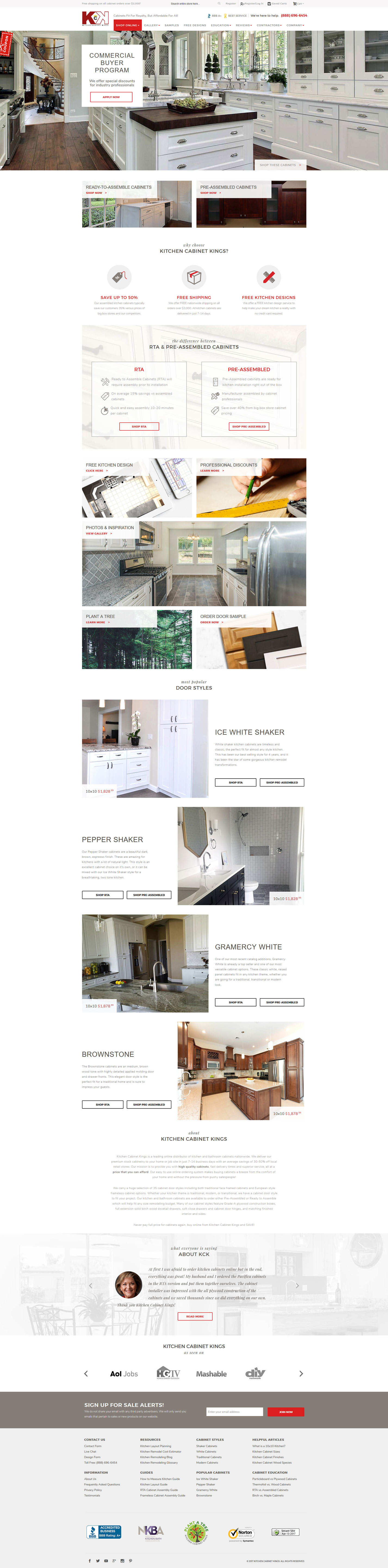 ecommerce website kitchen cabinet kings clemson web design